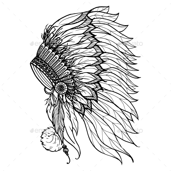 Doodle Headdress For Indian Chief - Objects Vectors