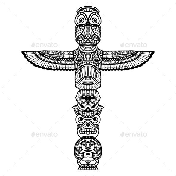 Doodle Totem Illustration - Objects Vectors
