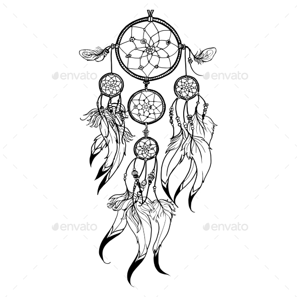Doodle Dreamcatcher Illustration - Objects Vectors