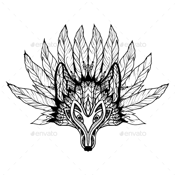 Doodle Wolf Mask - Animals Characters