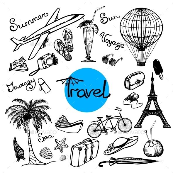 Travel Doodle Set - Travel Conceptual