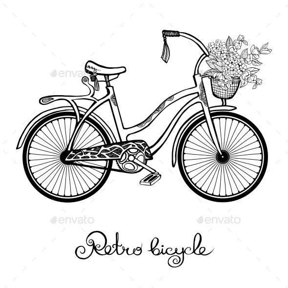 Retro Bicycle With Flowers - Travel Conceptual