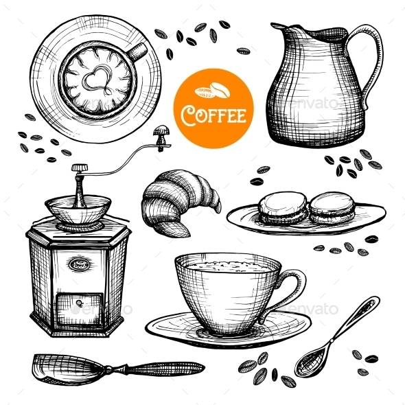 Hand Drawn Coffee Set - Food Objects