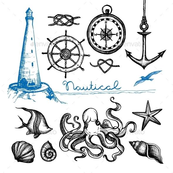 Nautical Hand Drawn Set - Travel Conceptual
