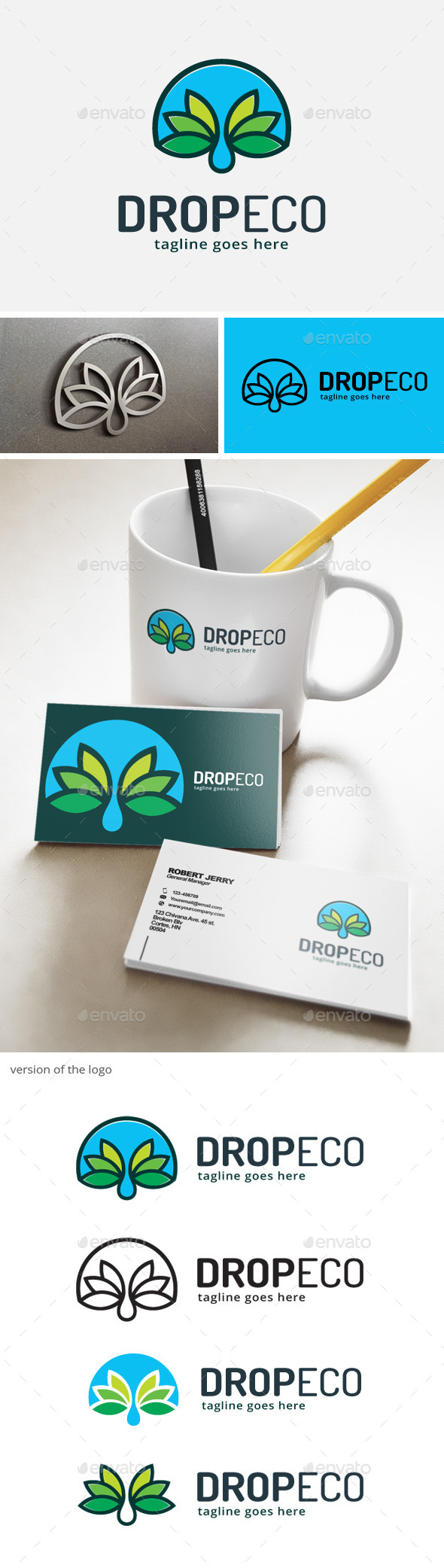 Drop Eco Green Logo - Nature Logo Templates