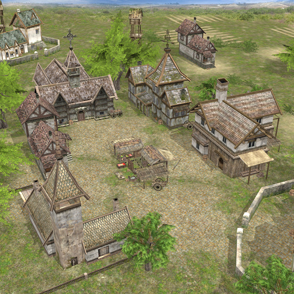 Realistic Village Scene - 3DOcean Item for Sale