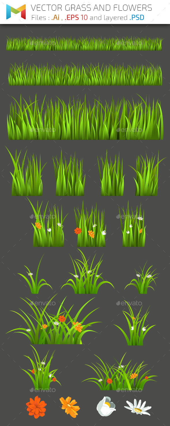 Vector Grass and Flowers - Flowers & Plants Nature