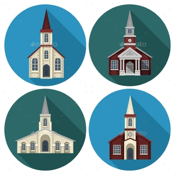 Church Flat Set - Buildings Objects