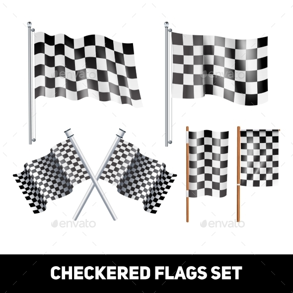 Checkered Flags Decorative Icon Set