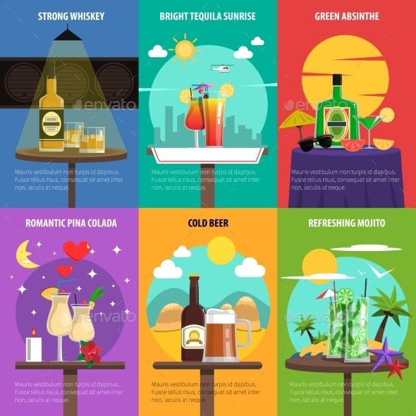 Cocktail Poster Set - Food Objects