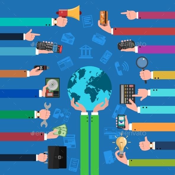 Business Hand Flat Concept - Business Conceptual