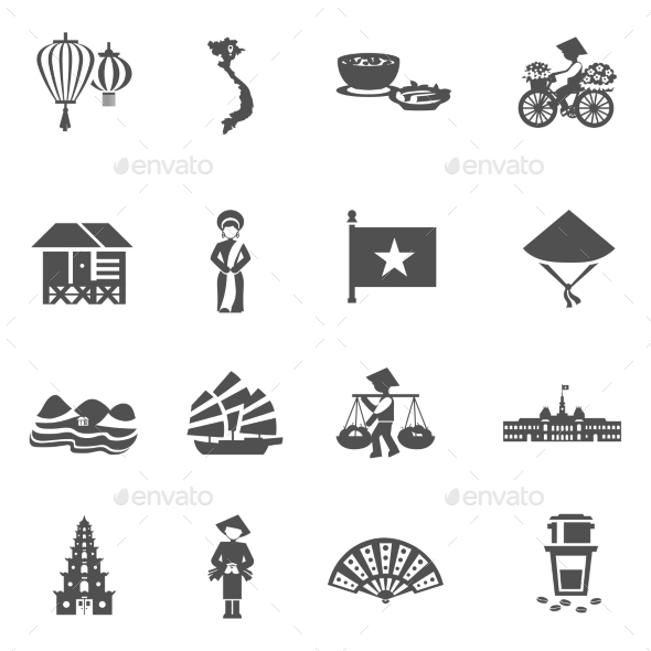 Vietnamese Black White Icons Set  - Seasonal Icons