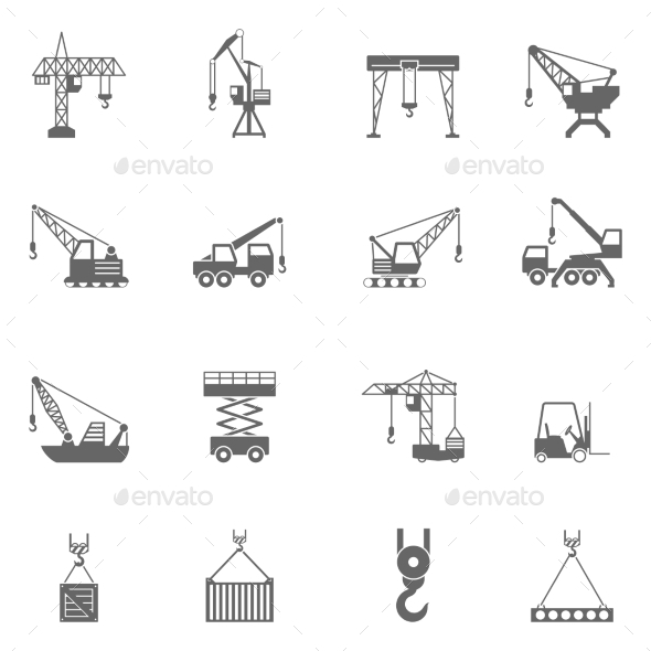 Building Construction Crane Black Icons Set - Man-made objects Objects