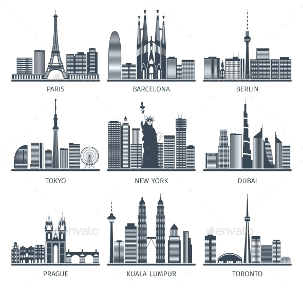 Urban Skylines Icons Set  - Buildings Objects