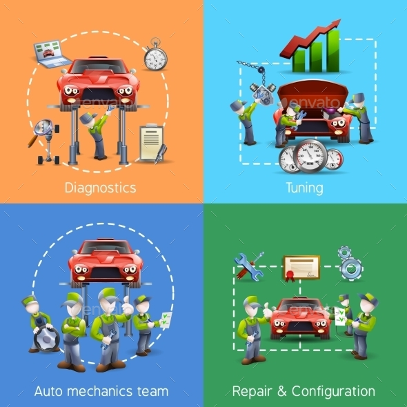 Auto Mechanic 4 Icons Square Banner - Concepts Business