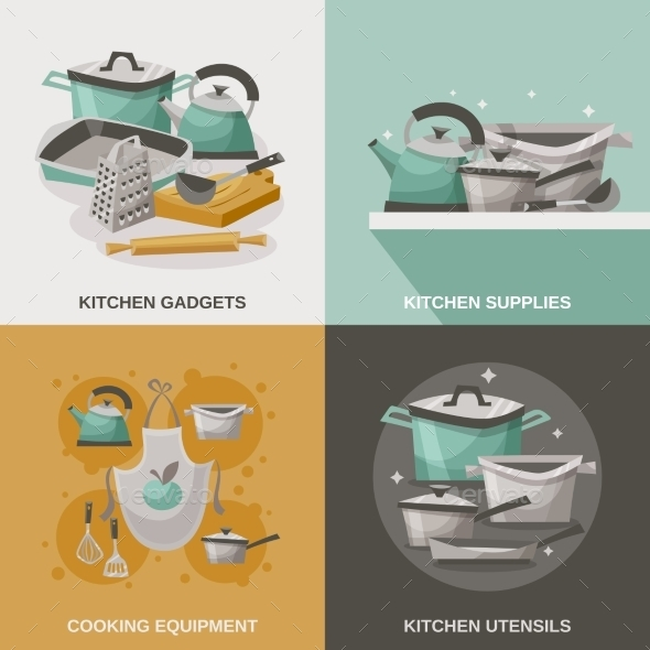 Kitchen Equipment Icons Set  - Man-made Objects Objects