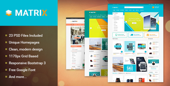 Matrix - Multi-Purpose eCommerce PSD Theme - Retail PSD Templates