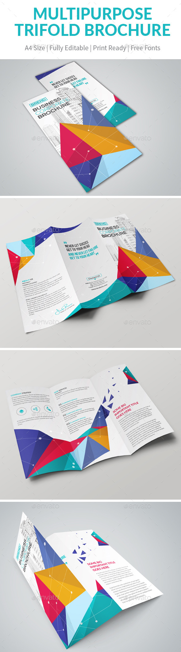 Colorfull Trifold Brochure - Brochures Print Templates