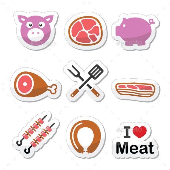 Pork Icons Set   - Food Objects