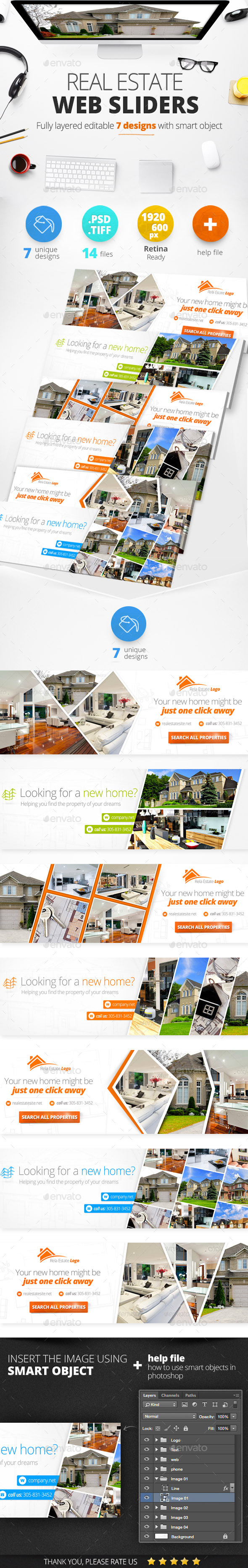 Real Estate Web Sliders 7 designs - Sliders & Features Web Elements