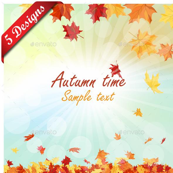 Set of 5 Autumn Designs - Seasons Nature