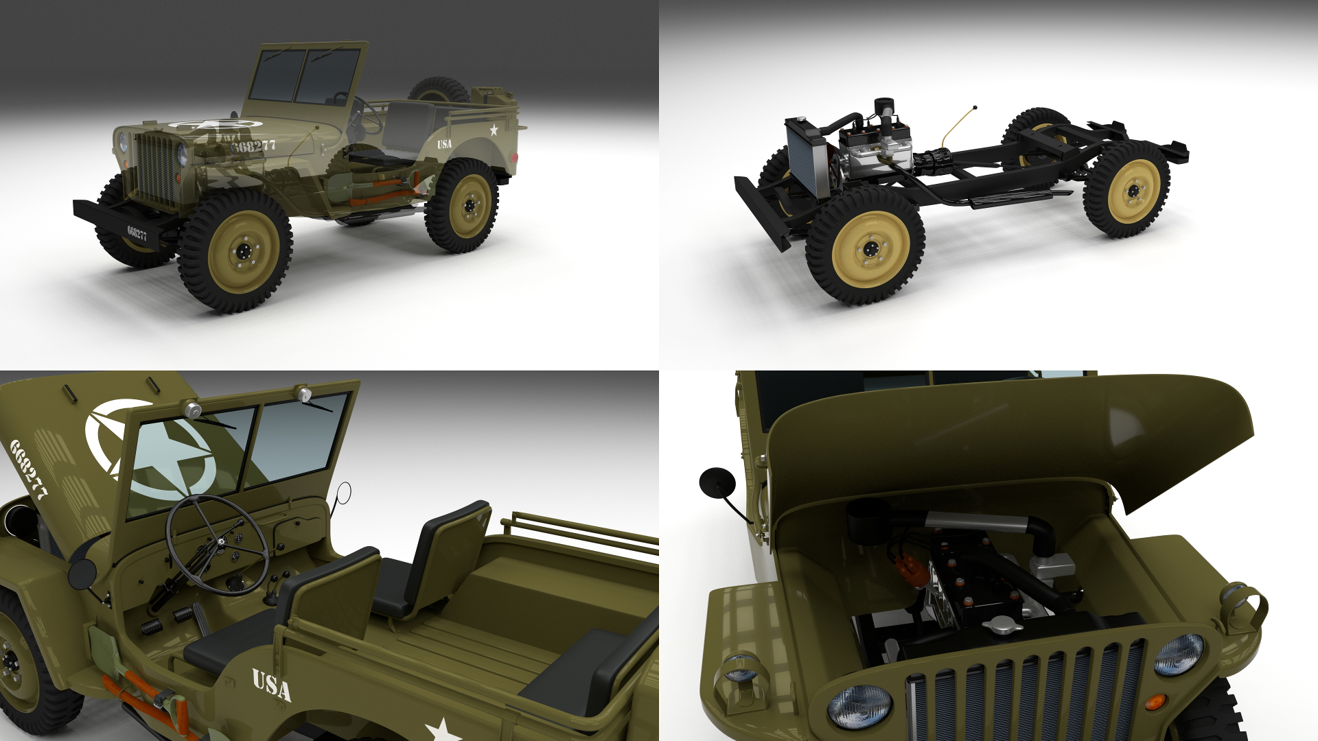 Préférence Full (w chassis) Jeep Willys MB Military by dragosburian | 3DOcean PW13