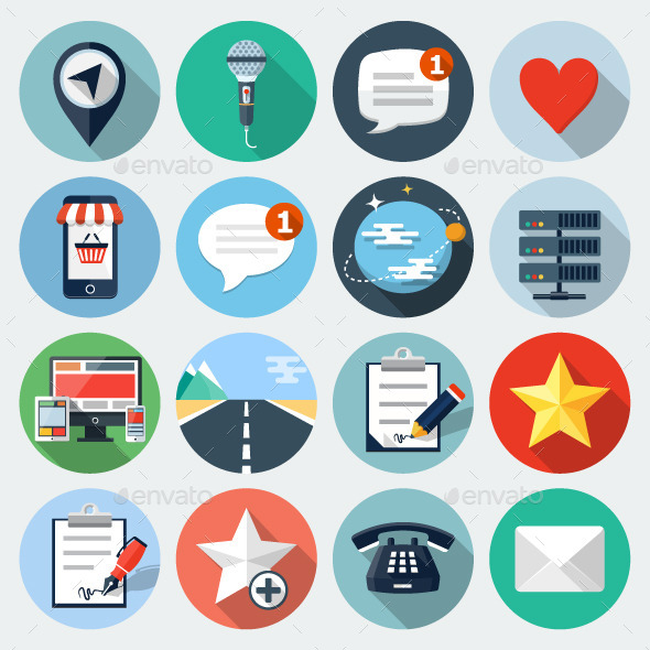 Flat Icons with long shadow set 13