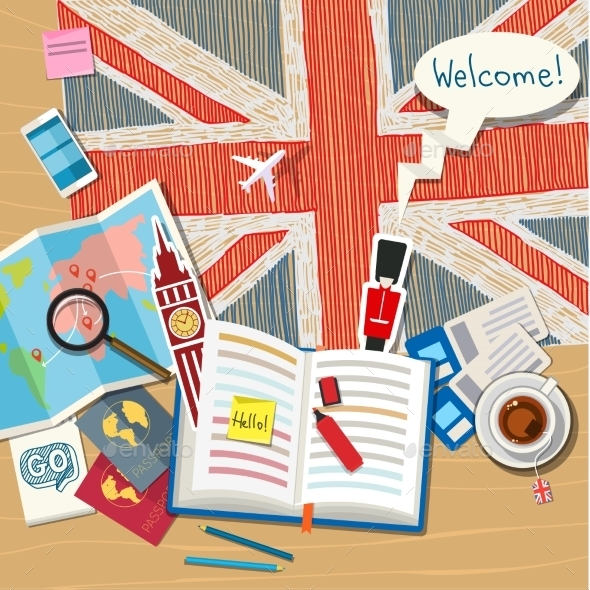 Concept Of Travel Or Studying English