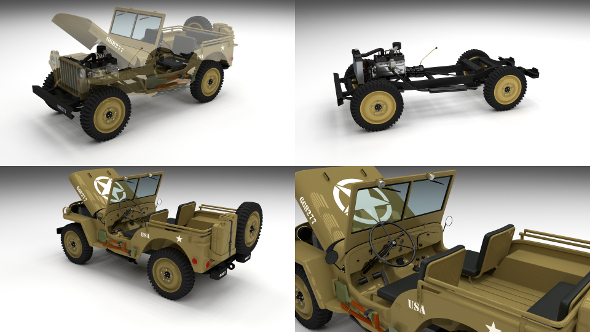 Full (w chassis) Jeep Willys MB Military Desert - 3DOcean Item for Sale