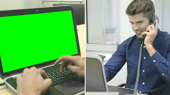 Working on Laptop with Green Screen