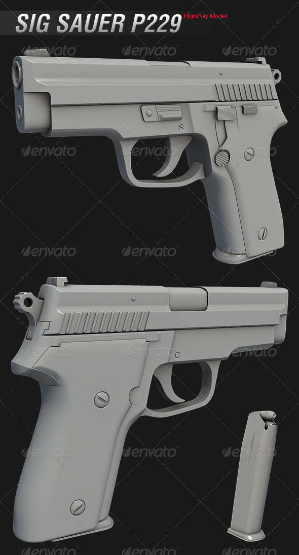 Sig Sauer P229 HighPoly Model - 3DOcean Item for Sale