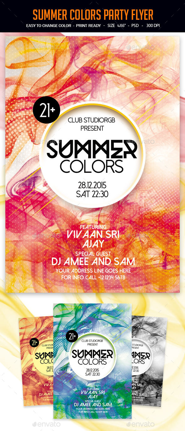 Summer Colors Party Flyer