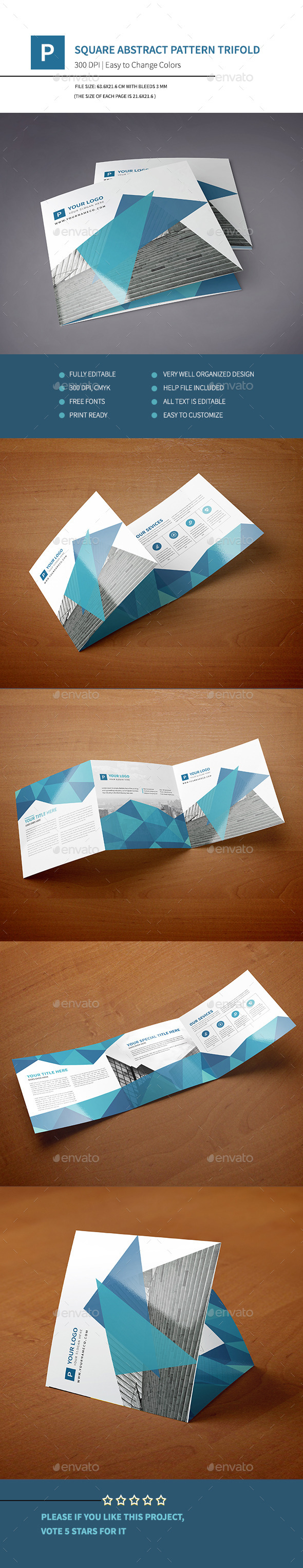 Square Abstract Pattern Trifold II - Corporate Brochures