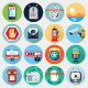 Flat Icons with long shadow, set 14 - GraphicRiver Item for Sale