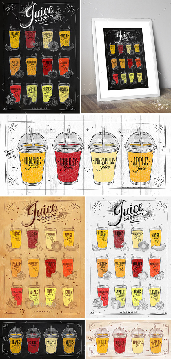 Juice Menu Posters - Food Objects