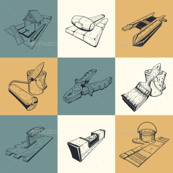 Set of Building Tools - Buildings Objects