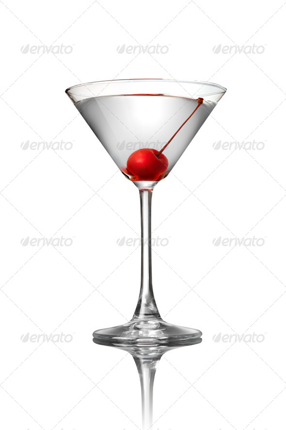 martini with cherry isolated on white - Stock Photo - Images