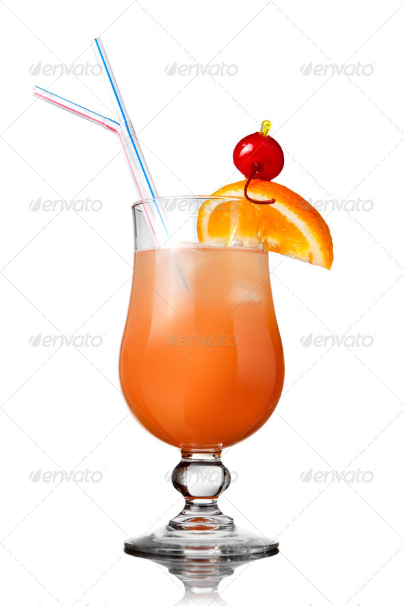 orange cocktail isolated on white - Stock Photo - Images