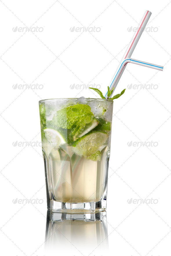 mohito cocktail isolated on white - Stock Photo - Images