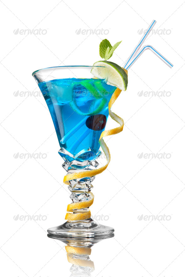 blue curacao cocktail isolated on white - Stock Photo - Images
