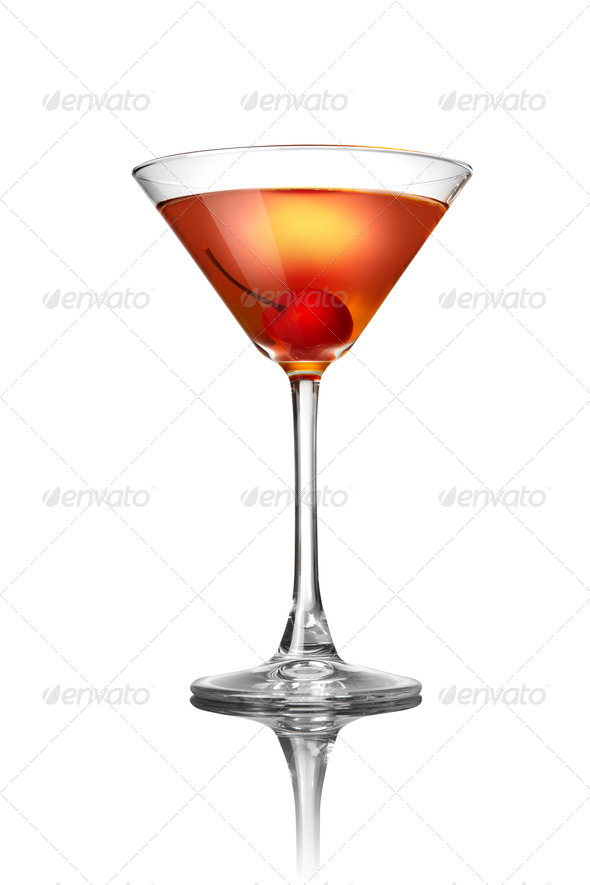 Red martini cocktail isolated on white - Stock Photo - Images