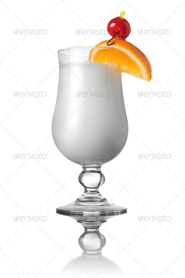 white cocktail isolated on white - Stock Photo - Images