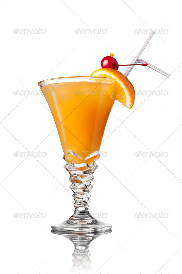 yellow cocktail isolated on white - Stock Photo - Images