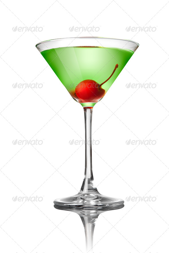 Green martini cocktail isolated on white - Stock Photo - Images