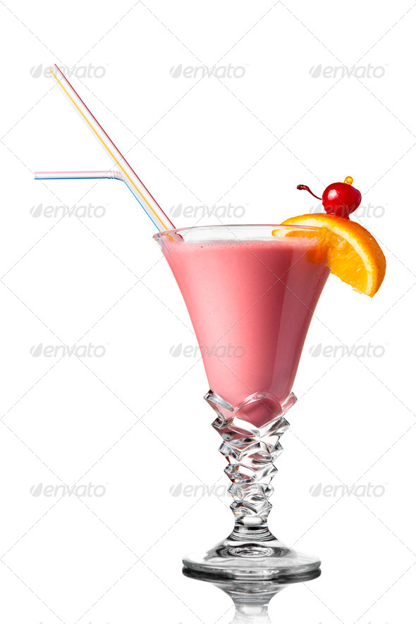 pink cocktail isolated on white - Stock Photo - Images