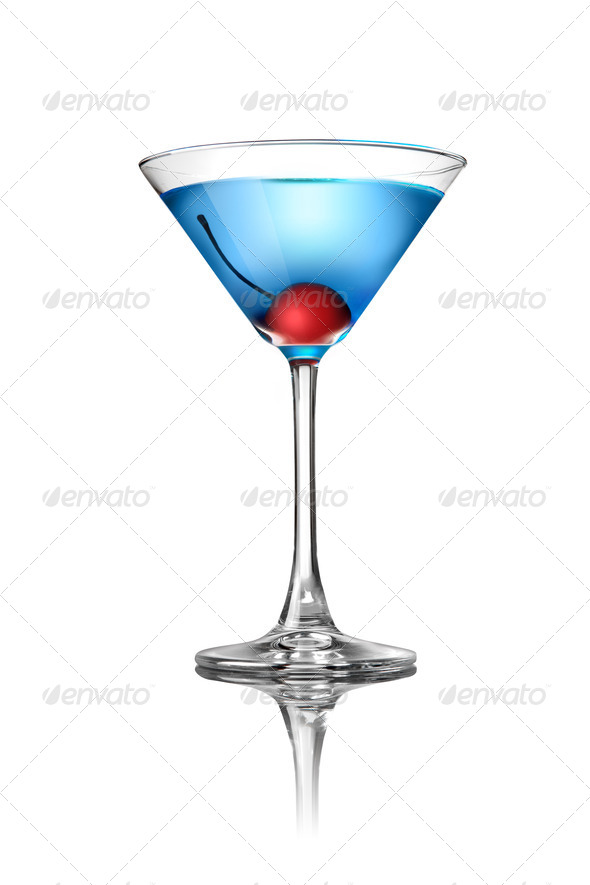 Blue martini cocktail isolated on white - Stock Photo - Images