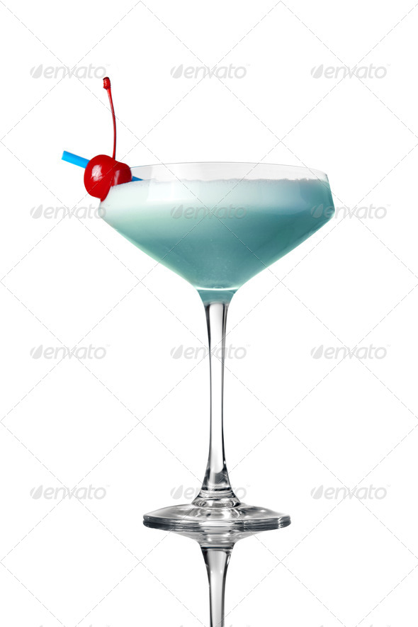 blue cocktail isolated on white - Stock Photo - Images