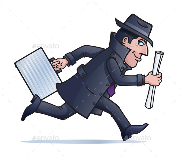 Spy Running with Plans and Briefcase - People Characters
