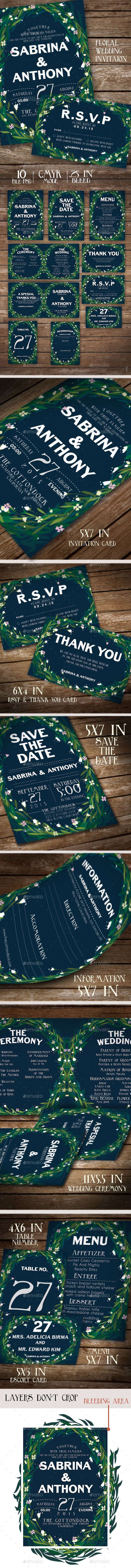 Floral Wedding Invitation Stationery - Weddings Cards & Invites