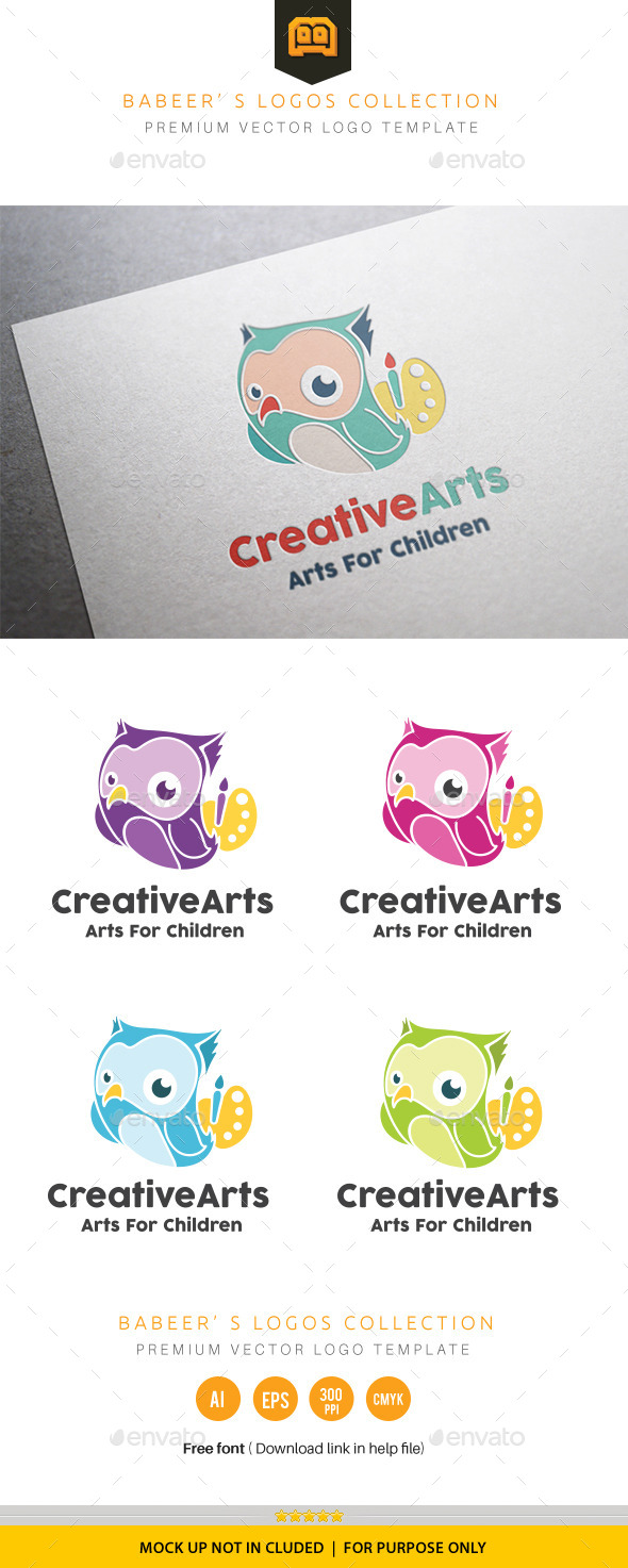 Owl Creative Arts  - Animals Logo Templates